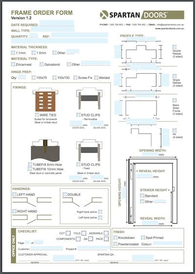 Non Electronic Printable Frame Order Form. Shed Doors